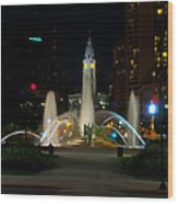 Logan Circle Fountain With City Hall At Night Wood Print by Bill Cannon