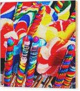 Lollipops - Painterly - Red Wood Print