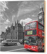 London Big Ben And Red Bus Wood Print