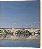 London Bridge And Reflection Wood Print