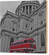 London Bus At St. Paul's Wood Print