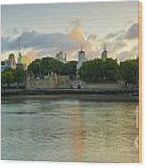 London Cityscape Sunrise Wood Print by Donald Davis