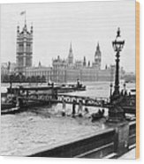 London England - House Of Parliament - C 1909 Wood Print