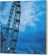 London Eye At Westminster Wood Print