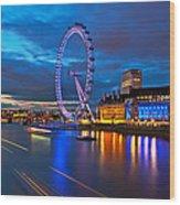 london Eye Nightscape Wood Print by Arthit Somsakul