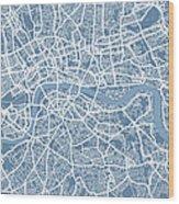 London Map Art Steel Blue Wood Print