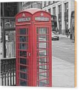 London Phone Box Wood Print