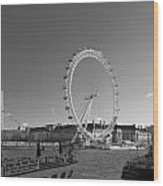 London Skyline Edf Eye Bw Wood Print