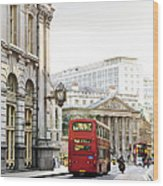 London Street With View Of Royal Exchange Building Wood Print by Elena Elisseeva