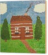 Lone Log Cabin Wood Print