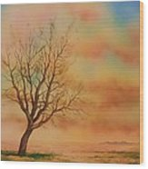 Lone Tree On The Montana Praire Wood Print