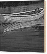 Lone White Boat In Nova Scotia Wood Print