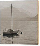 Lone White Boat On Lake Como In Sepia Wood Print