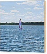 Lone Wind Surfer Wood Print