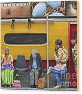 Lonely Travelers - Crop Of Original - To See Complete Artwork Click View All Wood Print by Anne Klar