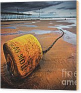 Lonely Yellow Buoy Wood Print