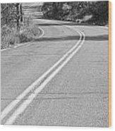Long And Winding Road Bw Wood Print