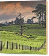 Long Bay Fields Wood Print