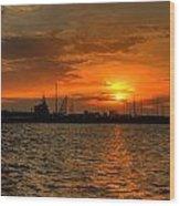 Long Beach Harbor Sunrise Wood Print