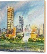 Long Beach Oil Islands Wood Print