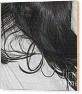 Long Dark Hair Of A Woman On White Pillow Wood Print