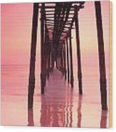 Long Exposure Wood Bridge To The Sea Wood Print