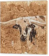 Long Horns Wood Print by Debra Jones