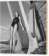 Long Legs On The Bridge  Wood Print