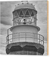 Long Point Lighthouse - Black And White Wood Print