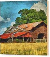 Long Road Barn Wood Print