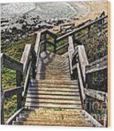 Long Stairway To Beach 2 Wood Print