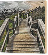 Long Stairway To Beach Wood Print