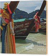 Long Tail Boats Wood Print