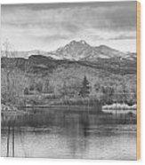 Longs Peak And Mt Meeker Sunrise At Golden Ponds Bw  Wood Print