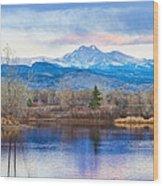 Longs Peak And Mt Meeker Sunrise At Golden Ponds Wood Print