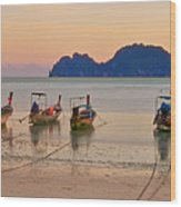 Longtail Boats On Beach At Sunset Wood Print