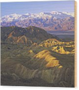 Looking At Panamint Range Wood Print by Tim Fitzharris