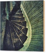 Looking Down An Old Staircase Wood Print
