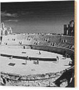 Looking Down On Main Arena Of Old Roman Colloseum El Jem Tunisia Wood Print