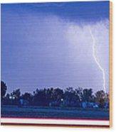 Looking East Lightning Strike Wood Print
