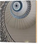Looking Up At A Spiral Staircase Wood Print