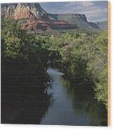 Looking Up Oak Creek At The Red Rocks Wood Print