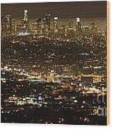 Los Angeles  City View At Night  Wood Print