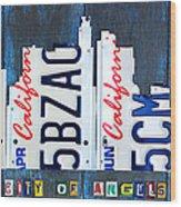 Los Angeles Skyline License Plate Art Wood Print