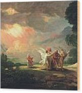 Lot Fleeing From Sodom Wood Print