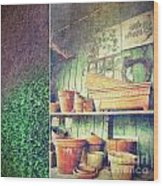 Lots Of Different Size Pots In The Shed Wood Print