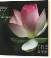 Lotus Flower Holiday Card Wood Print
