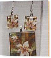 Lotus Flower Pendant And Earring Set Wood Print