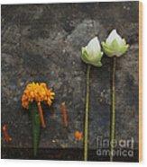 Lotus Flowers On A Thai Shrine Wood Print