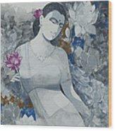 Lotus Grays Wood Print